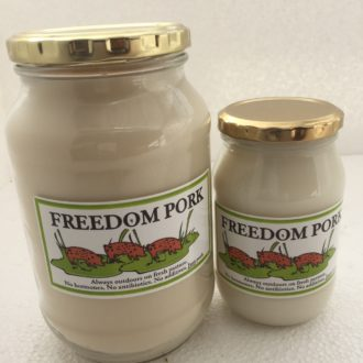 Freedom Pork Lard in glass jars